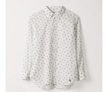 Classic Shirt White Flowers