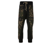 Camouflage Print Patchwork Trouser Black