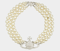 Three Row Pearl Bas Relief Choker