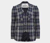 Waistcoat Jacket Navy on Cream