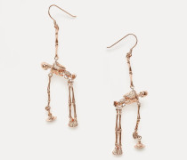 Skeleton Earrings Pink Gold Tone