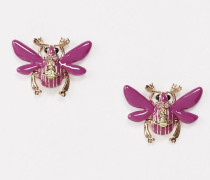 Scarab Stud Earrings Pink Gold Tone