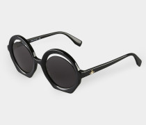 Crescent Cut Sunglasses Black