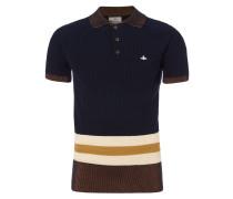 Ribbed Knit Polo Shirt Navy
