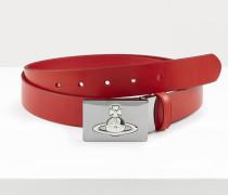 Square Buckle Gun Metal Belt Red