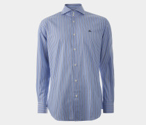 Two Button Cutaway Shirt Light Blue/Brown Stripes
