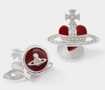 Diamante Red Heart Cufflinks