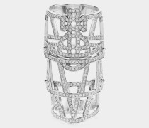 Giuseppa Armour Ring Silver Tone