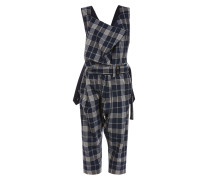Dungaree Cream on Navy Tartan