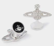 Mini Bas Relief Crystal Cufflinks
