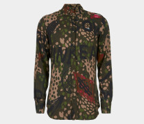 Two Button Krall Shirt Green Camouflage