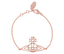 Thin Lines Flat Orb Bracelet Pink Gold