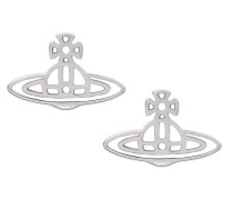 Thin Lines Flat Orb Stud Earrings Silver