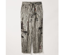 Cropped Laurent Trousers Chinese Peony Print