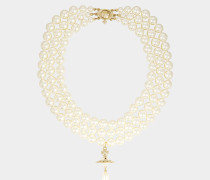 Three Rows Pearl Necklace Gold Tone