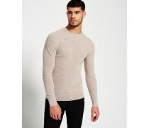 Premium Textured Knit Crew Pullover creme