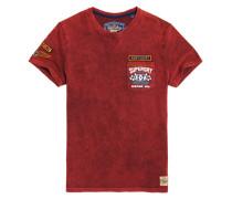 Custom Jeans-T-Shirt mit Tasche und Ziernaht rot