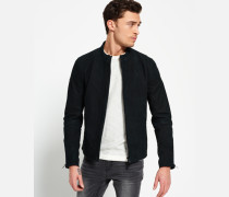 Slim Nubuck Harrington-Jacke schwarz