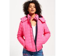 Gesteppte, kastige Fuji Kapuzenjacke pink