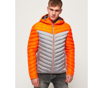 Chevron Daunenjacke mit Farbblock-Design orange