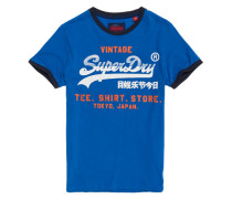 Shirt Shop Retro Ringer T-Shirt blau