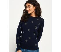 Star Jacquard Strickpullover marineblau