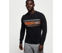 Rundhals-Sweatshirt mit Retrostreifen schwarz
