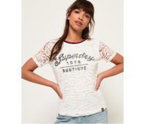 Elsworth T-Shirt mit Spitze und Grafik weiß
