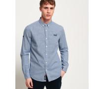 Premium Button-down-Hemd mit langen Ärmeln blau