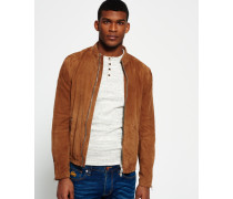 Slim Suede Harrington-Jacke braun