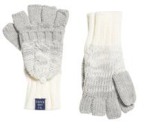 Clarrie Handschuhe mit Zopfmuster hellgrau