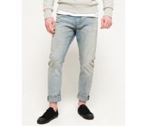Schmal geschnittene Low Rider Jeans blau