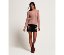 Schulterfreier Pullover in Acid-Wash pink