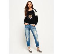 Glitzernde Harper Boyfriend-Jeans blau