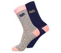 Socken mit durchgehendem Glitzer im 2er-Pack bunt