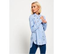 Besticktes Madison Hemd blau