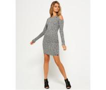 Schulterfreies, geripptes Sport Kleid dunkelgrau