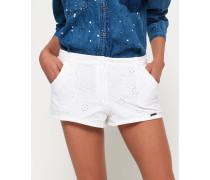 Chino-Shorts mit Stickerei weiß