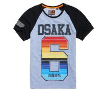 Gestreiftes Osaka Cali Raglan-T-Shirt blau