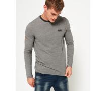 Strukturiertes Orange Label Langarm-T-Shirt grau