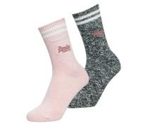 Sportliche, melierte Socken im 2er-Pack bunt
