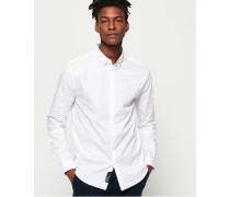 Schmal geschnittenes Langarmhemd weiß