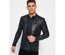 Leather Quilt Racer Jacke schwarz