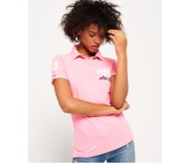 Polohemd mit Applikation pink