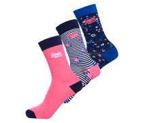 Bella Socken mit Blümchenmuster im 3er-Pack bunt