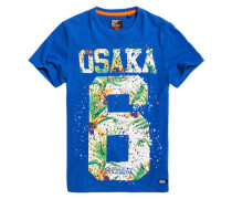 Osaka Hibiscus Infill T-Shirt blau