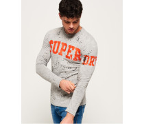 Super Splatter Langarm-T-Shirt hellgrau