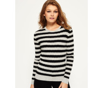 Luxe Mini Pullover mit Zopfmuster hellgrau
