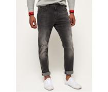 Schmal geschnittene Low Rider Jeans dunkelgrau