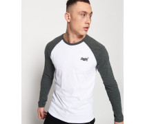 Baseball Langarm-T-Shirt weiß